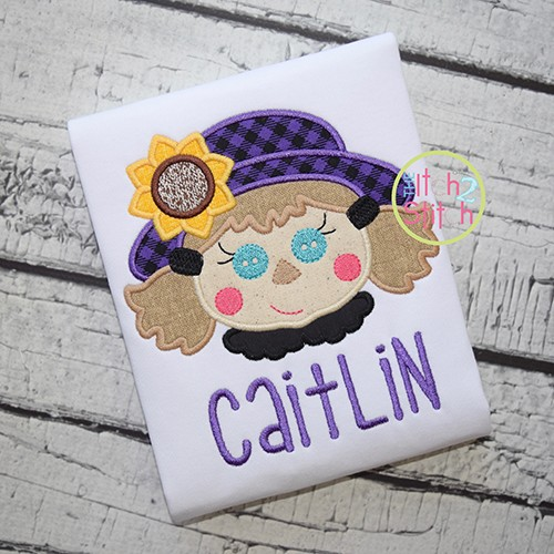 Scarecrow Face Girl Applique