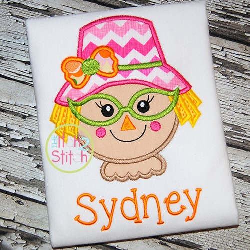 Scarecrow Glasses Girl Applique