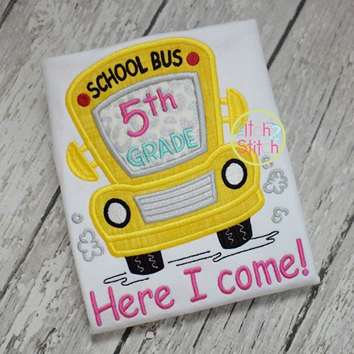 School Bus Grades 5th Applique