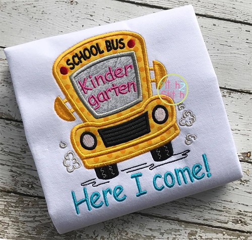 School Bus Grades Kindergarten Applique