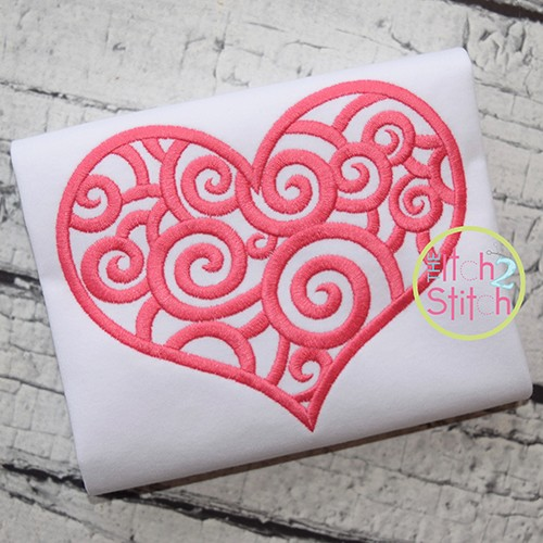 Scroll Heart Embroidery