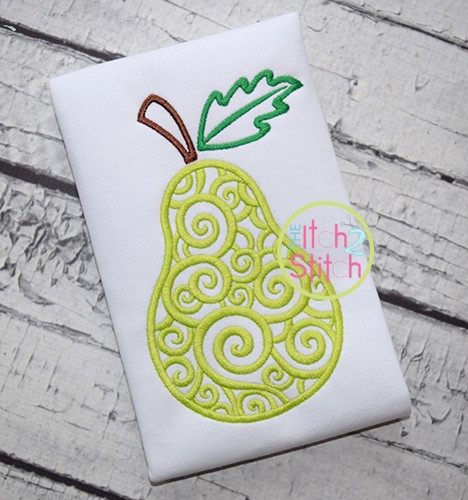 Scroll Pear Embroidery