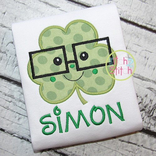 Shamrock Glasses Boy Applique