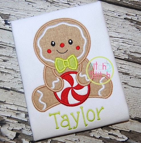 Sitting Gingerbread Boy Applique