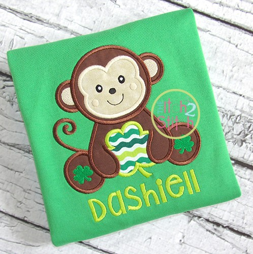 Sitting Monkey Shamrock Applique