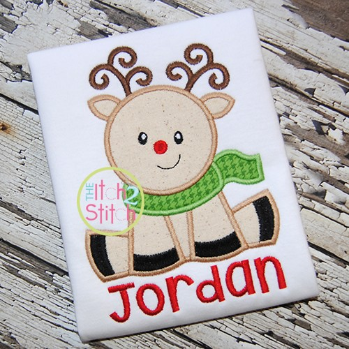 Sitting Reindeer Applique