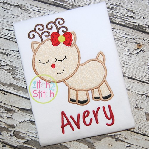Sleepy Reindeer Girl Applique