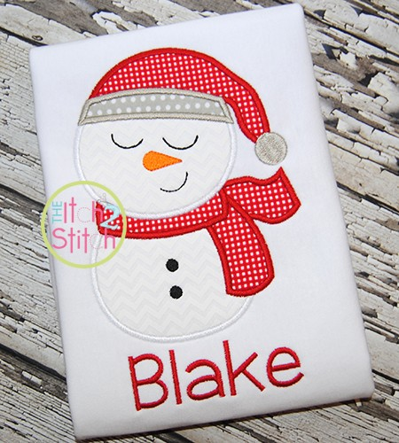 Sleepy Snowman Boy Applique