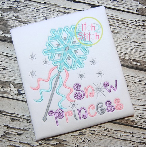 Snow Princess Wand Applique