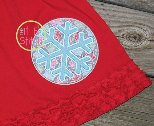 Snowflake Circle Patch Applique