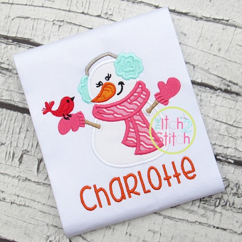 Snowman Lady Applique
