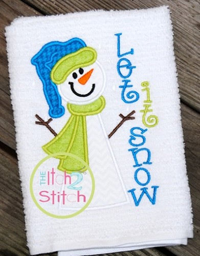 Snowman Let It Snow Applique