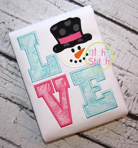 Snowman Face LOVE Applique