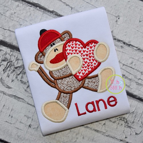 Sock Monkey Heart Applique