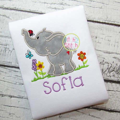 Spring Elephant Applique