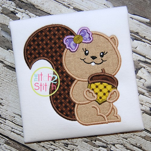 Squirrel Acorn Girl Applique