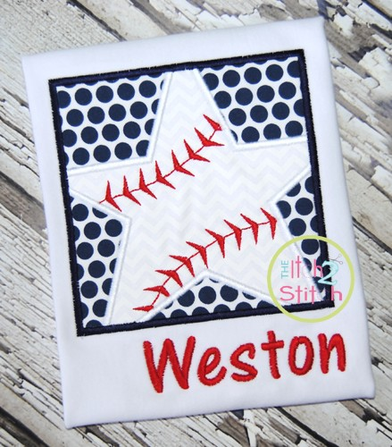Baseball Star Box Applique