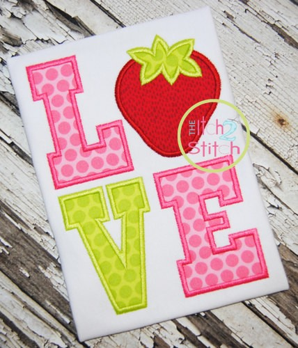 Strawberry LOVE Applique