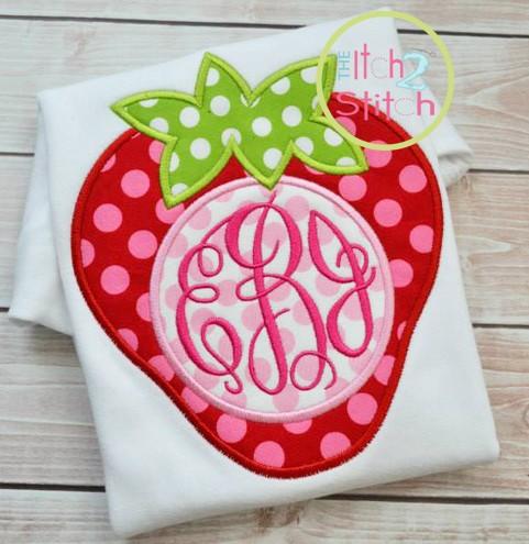 Strawberry Monogram Applique