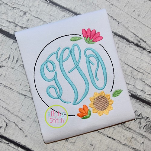 Sunflower Bloom Frame Embroidery Design