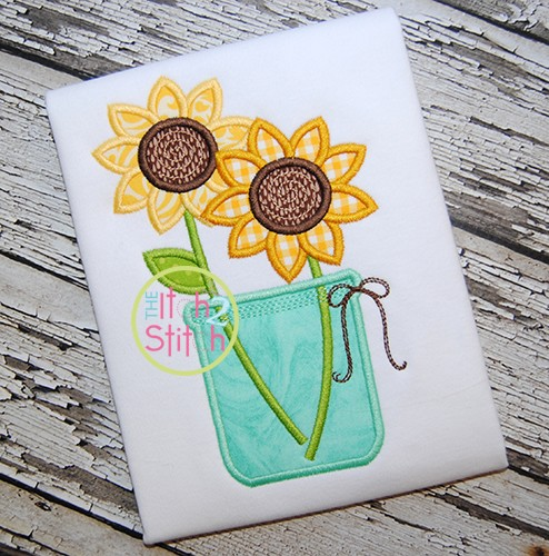 Sunflower Jar Applique