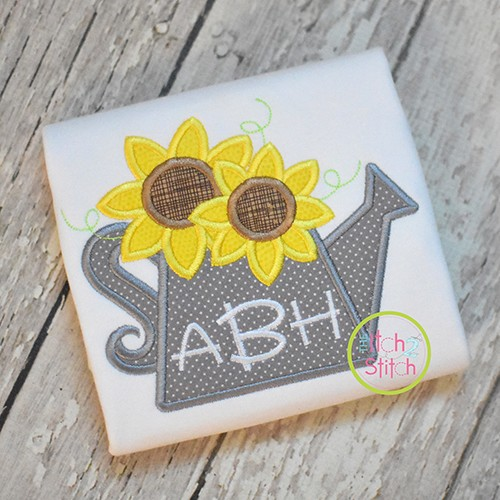 Sunflower Watering Can Applique