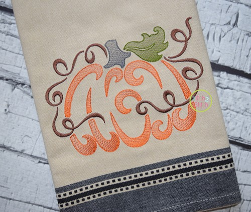 Swirly Pumpkin Sketch Embroidery