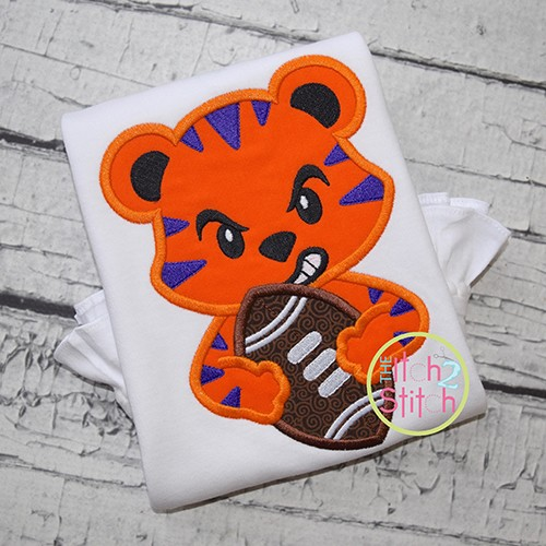 Tiger Football Mascot Applique