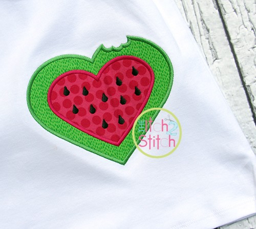 Watermelon Heart Applique
