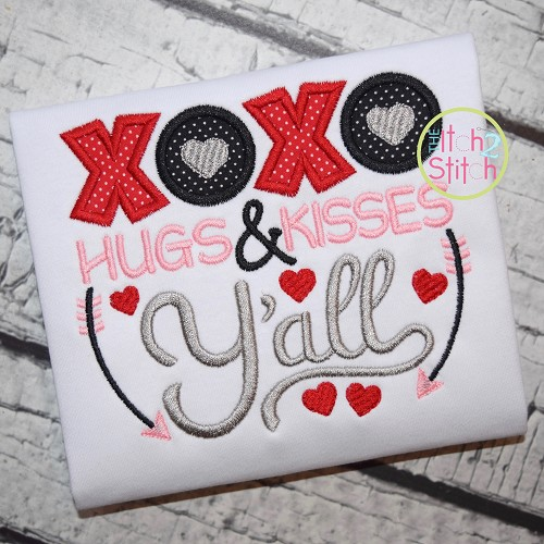 XOXO Hugs & Kisses Y'all Applique