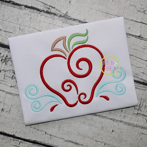 All Occasion Swirly Apple Embroidery