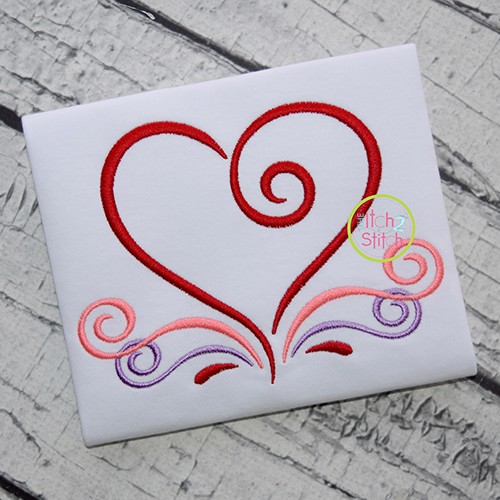 All Occasion Swirly Heart Embroidery