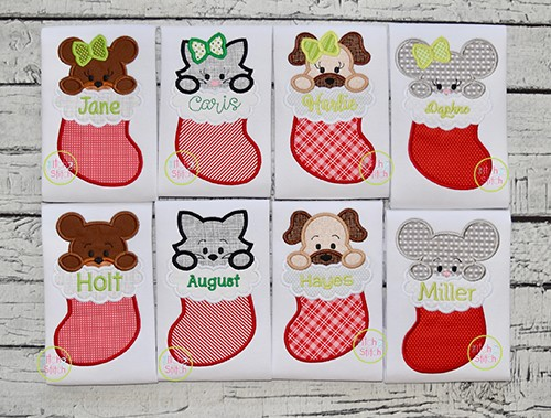 Animals in Stocking Applique Design Set