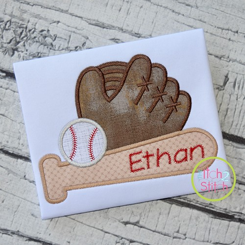 Baseball Bat Glove Applique Design