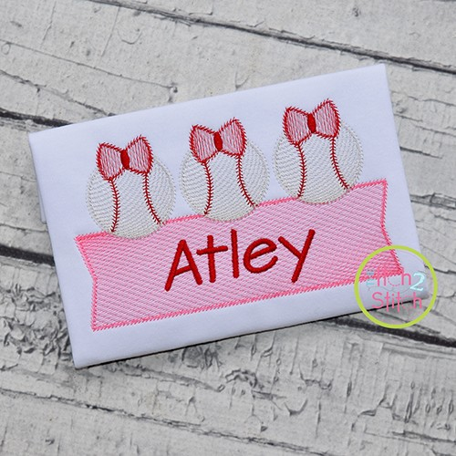 Baseball Bow Trio Banner Sketch Embroidery Design