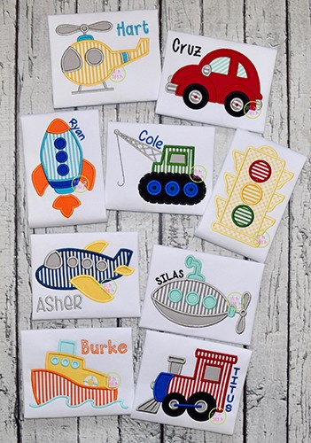 Basic Transportation Applique Set