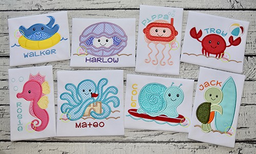 Beach Sea Creatures Applique Design Set