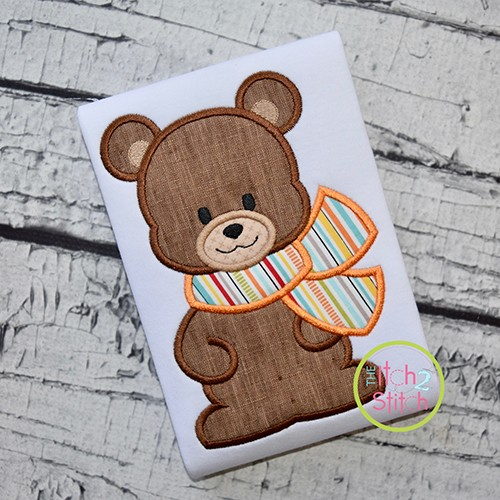 Bear with Scarf Boy Applique