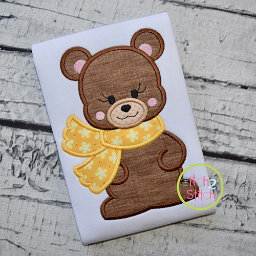 Bear with Scarf Girl Applique
