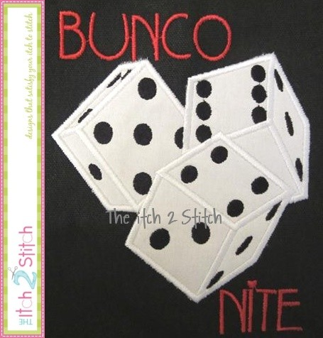 Bunco Nite Dice Applique