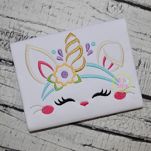 Bunny Unicorn Horn Embroidery