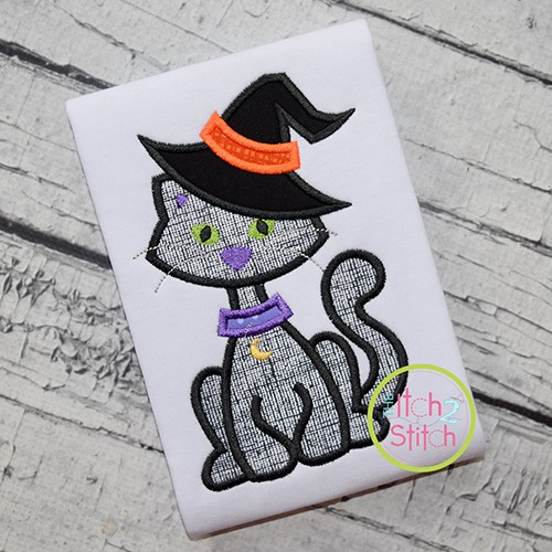 Cat in Witch Hat Applique