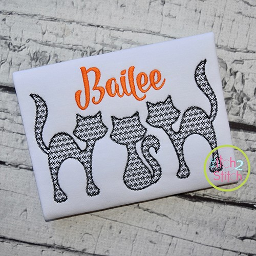 Cat Trio Motif Embroidery