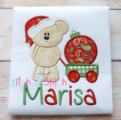 Christmas Bear Ornament Applique