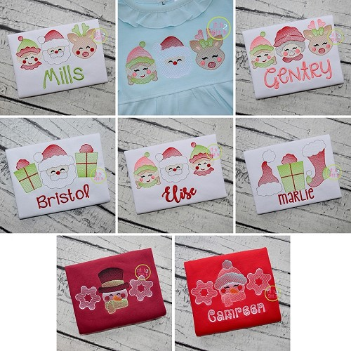 Christmas Trios Sketch Embroidery Set