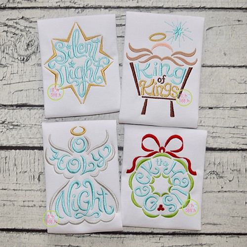 Christmas Word Art Embroidery Design Set