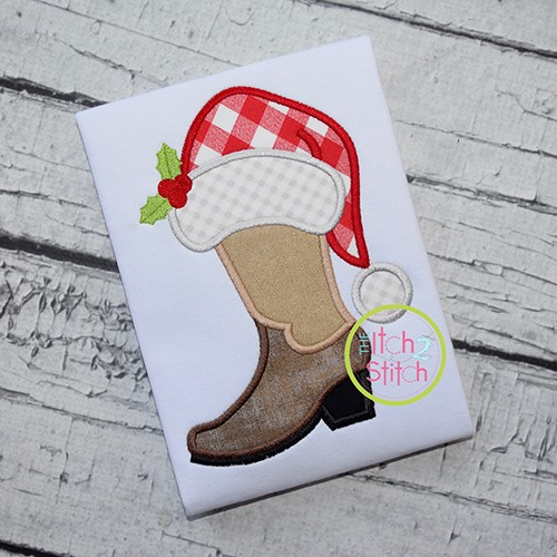 Cowboy Boot Santa Hat Applique