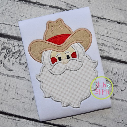 Cowboy Santa Face Applique