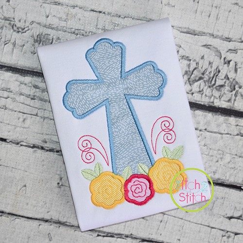Cross Roses Applique Design