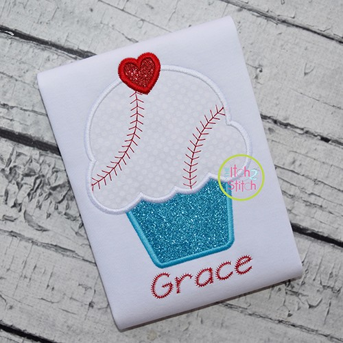 Cupcake Baseball Applique